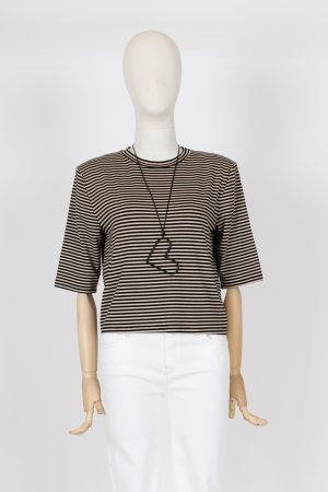 T shirt a righe crop