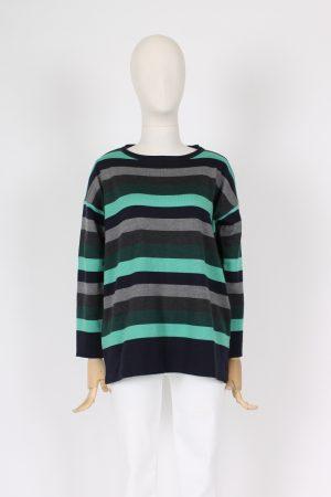 Maxi maglia a righe in pura lana