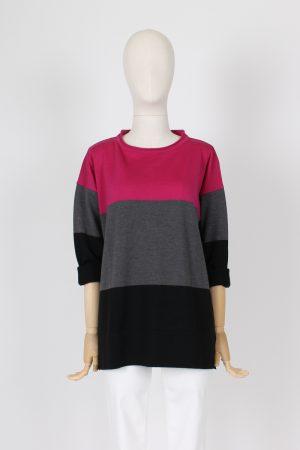 Maxi maglia a righe pura lana