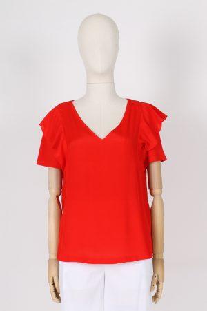 T shirt scollo a V con manica ad aletta Maria Bellentani