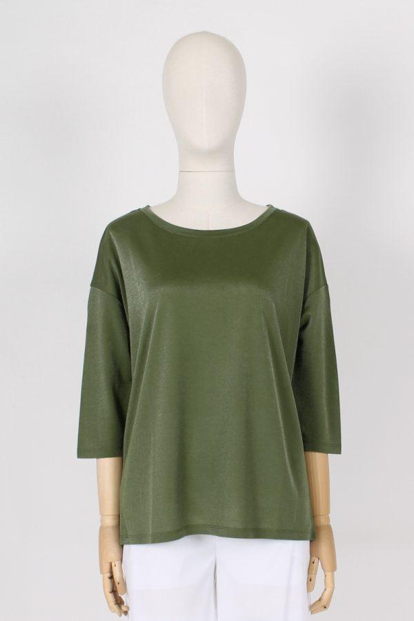T shirt manica a 3\4 effetto spalmato Maria Bellentani