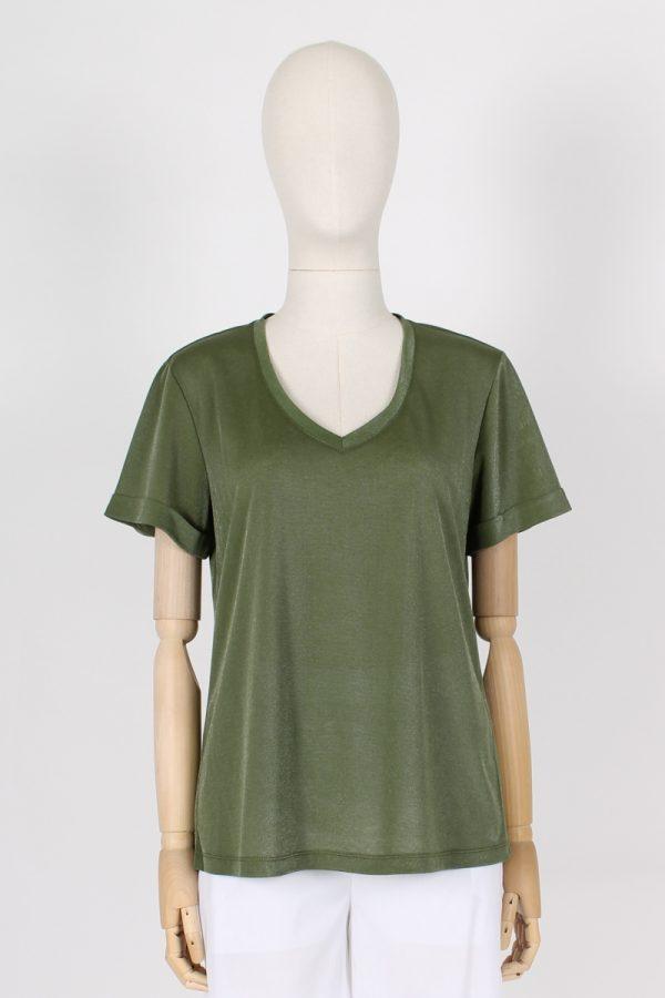 T shirt scollo a V con piega baciata sulla schiena Maria Bellentani