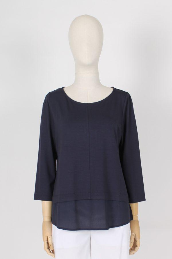 T shirt in jearsy di viscosa con finta camicia Maria Bellentani