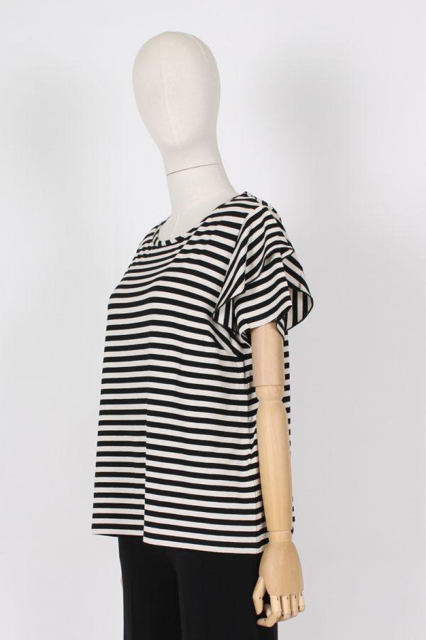 T shirt doppia manica rouche Maria Bellentani
