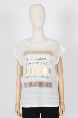 T shirt il puro lino malfilè stampa oro Maria Bellentani