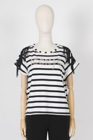 T shirt a righe con frange sulle spalle Icona