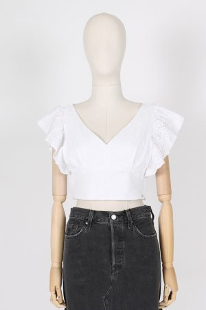 Top crop sa gallo con maniche ad aletta Guess jeans