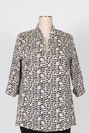 Casacca in cotone stampato scollo giacca Lola by Sandro Ferrone