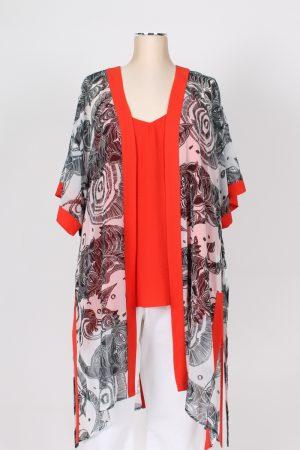 Maxi kimono fantasia con cintura MAT