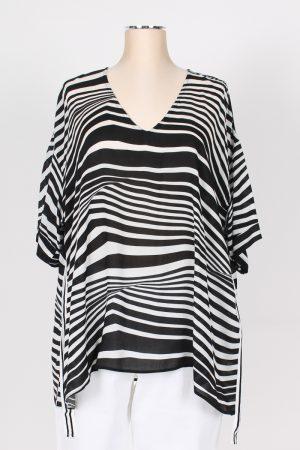 Maxi casacca fantasia bianco nero con punte scollo V MAT