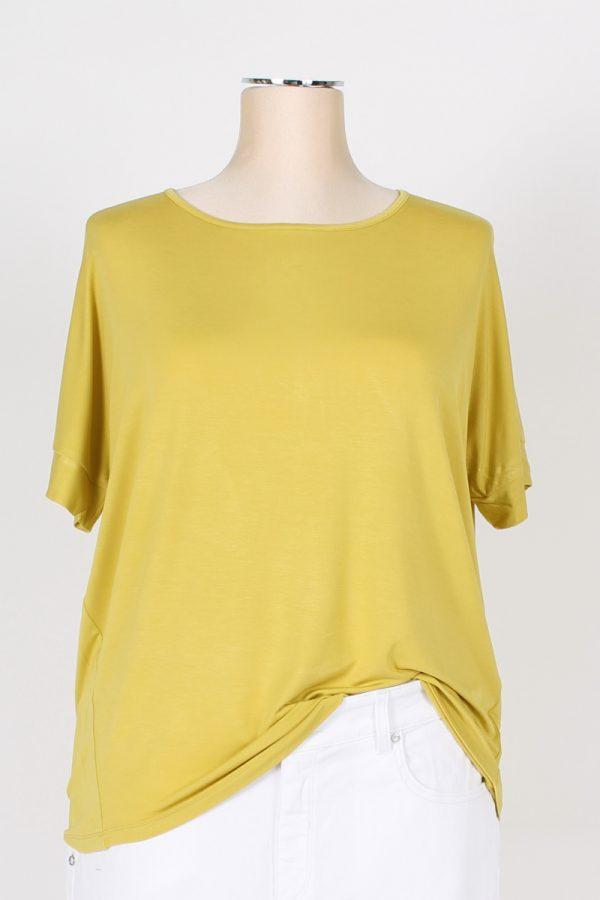 T shirt paricollo a uovo con bottoni sulla schiena Fleurs d'Anis