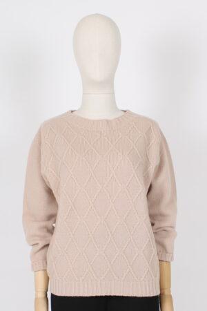 Maglia paricollo a losanghe in pura lana