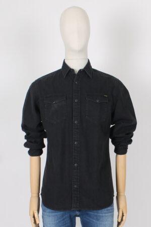 Camicia nera di jeans con clips