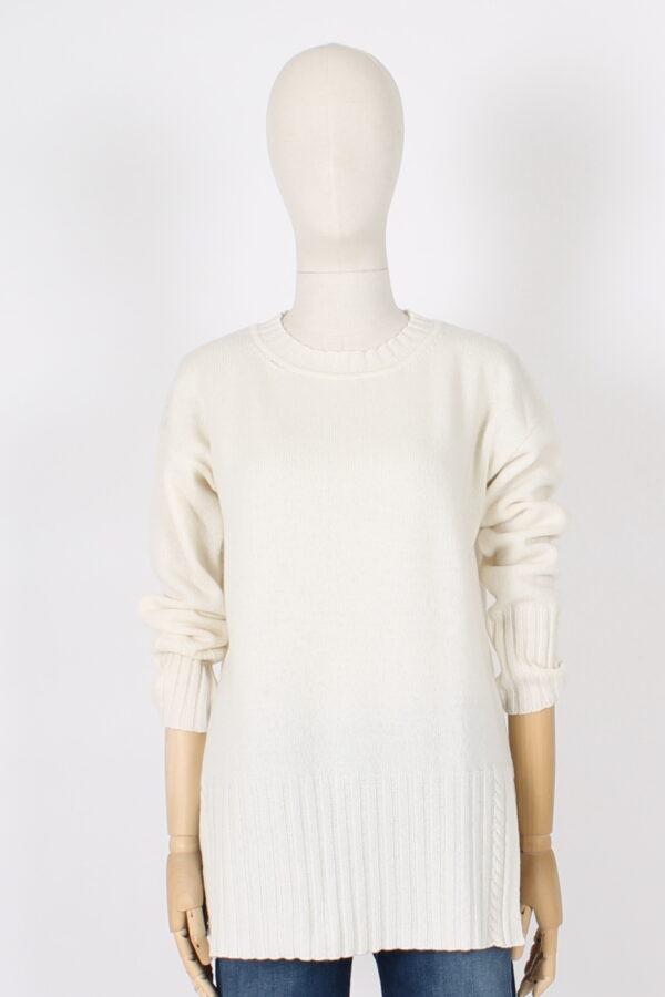 Maxi maglia con spacchi pura lana