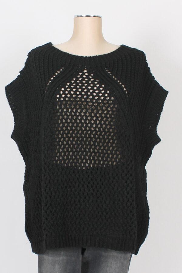 Gilet curvy traforato in maglia